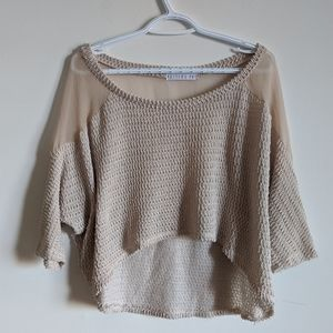 Potters Pot chiffon + knit/ mixed media top